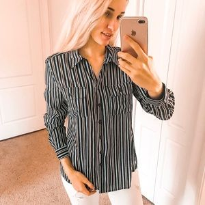 Studio Works Blue Striped Button up Blouse